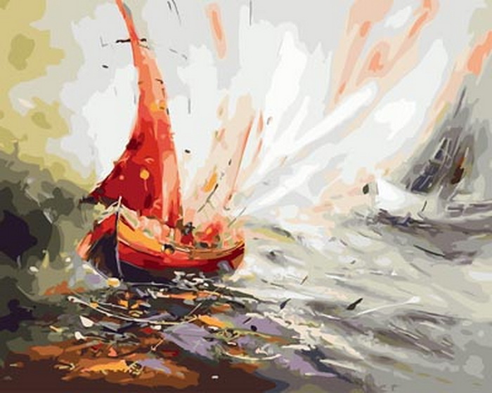Unframe diy picture oil painting by numbers paint by number for home decor  canvas painting 5065cm sailboat in sea thumbnail