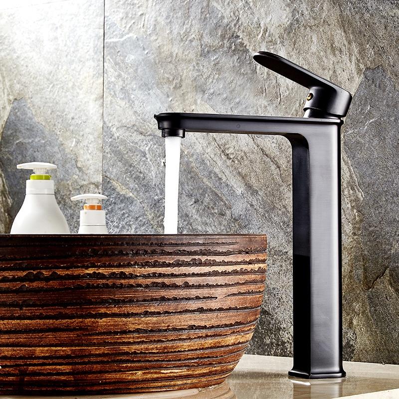 Black bathroom faucet hotel home bathroom kitchen fashion hot and cold basin copper bathroom basin faucet стоимость