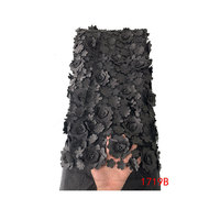 2019 Lace Fabric Embroidery By Yards Black 3d Lace Fabric African Black Tulle Fabric Lace For Party QF17519B
