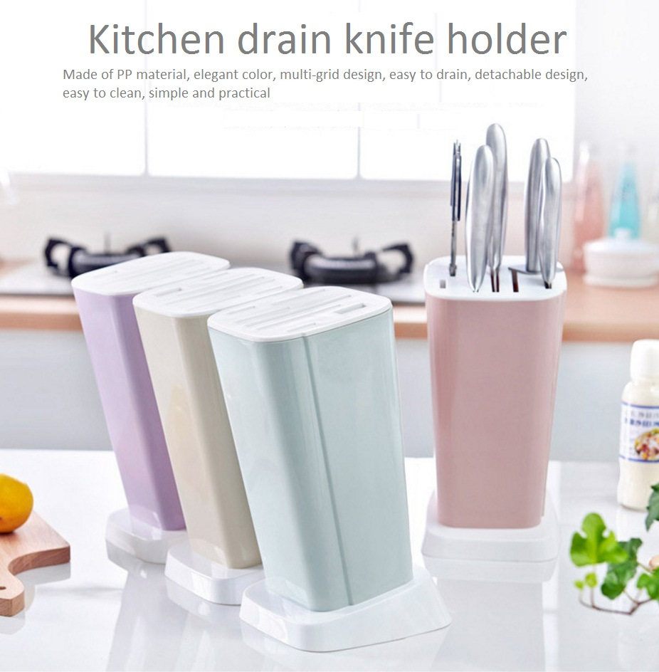 Kitchen Supplies  Multifunction Knife Shelving Rack Home Storage Tool PP Plastic Kitchen Knives Holder 13*14.5*27cm(China)