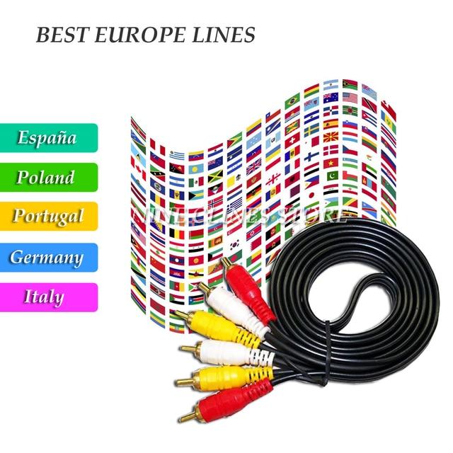 6 Lines Europe Clines Satellite Receiver Full HD AV Cable for DVB-S2 Decorder Europe Channels Spain Portugal Germany Poland