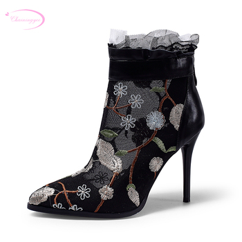 Chainingyee party style sexy pointed toe autumn ankle boots embroidered zipper black pink high-heeled riding boots women's shoes