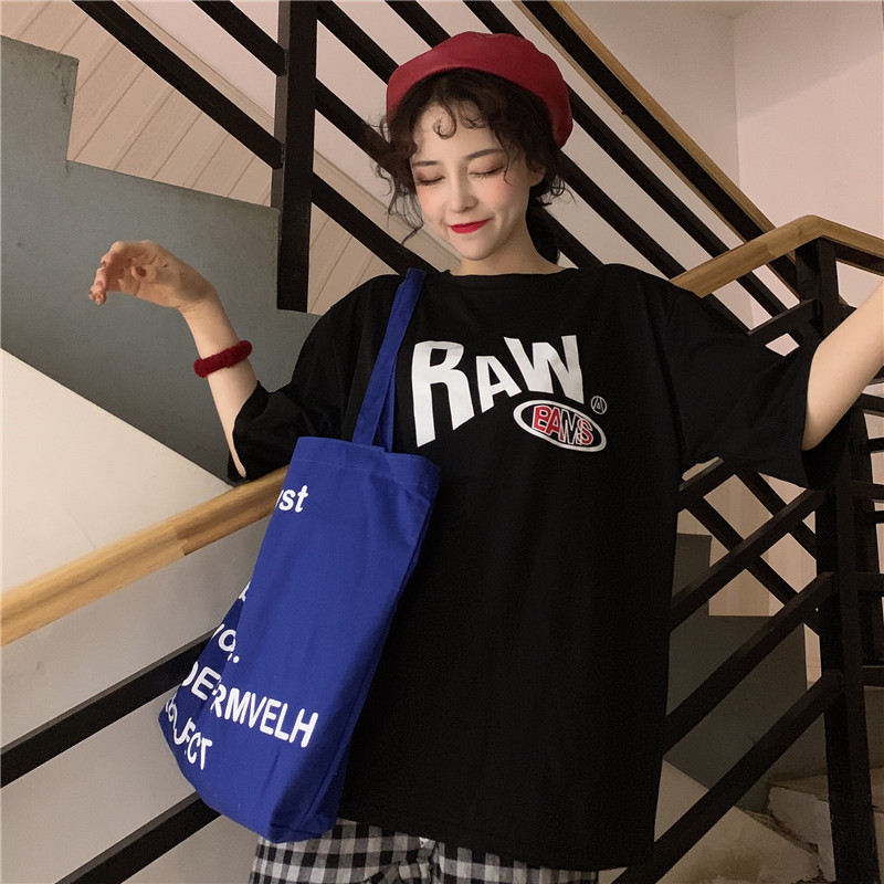 2019 Summer Short Sleeve Tshirt oversized L Tees Cotton Casual Tee O Neck Female Loose Young Tops 2 Colors HOT Couples Tee in T Shirts from Women 39 s Clothing