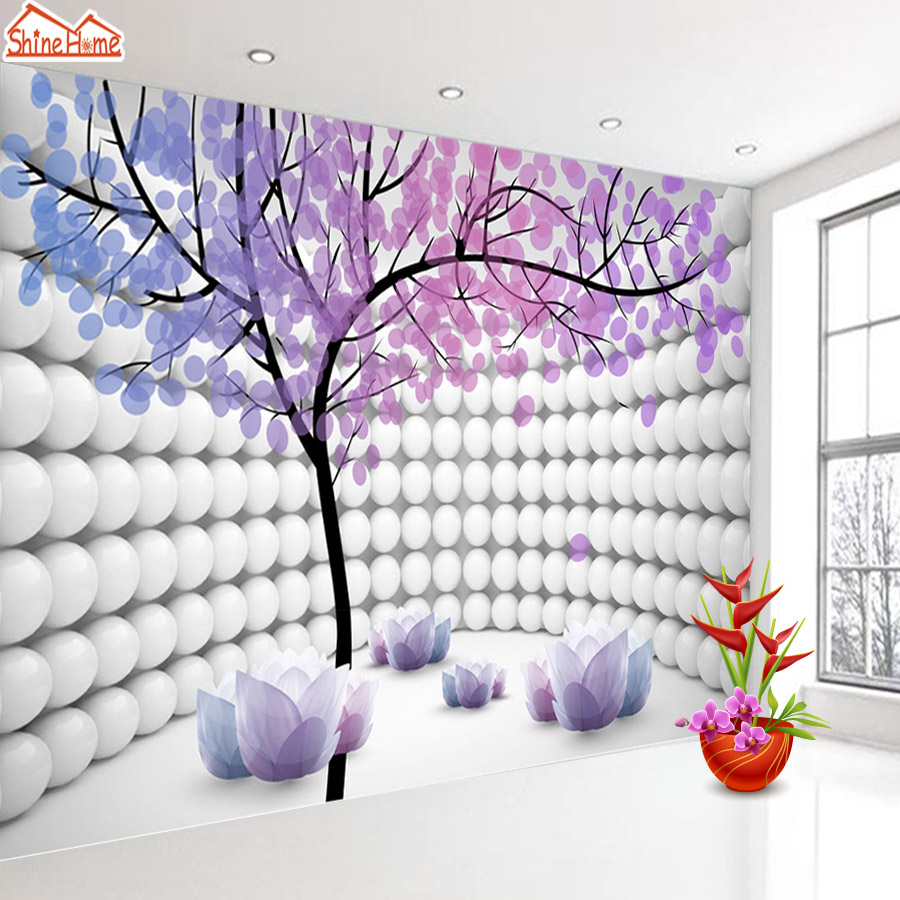 ShineHome-Photo Wallpaper 3D Stereoscopic Purple Tree Ball Modern Fabric Decorative Wall Paper Wallpapers Desktop for Room Rolls shinehome modern custom elephant skyline photo wallpaper 3d stereoscopic decorative wall paper murals boys children kids room
