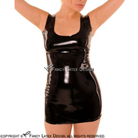 Black Sexy Short Sleeveless Latex Dress With Back Zippers Rubber Bodycon Playsuit Without Zipper Plus Size