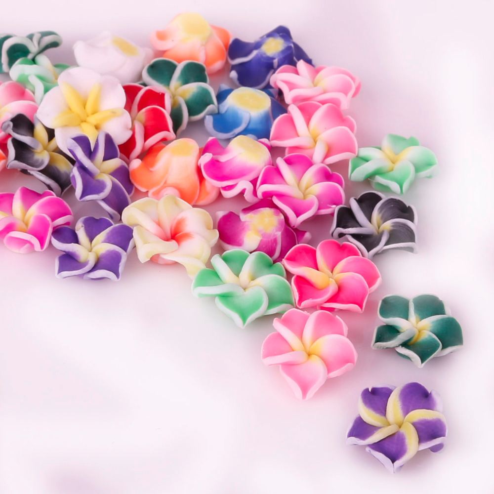2017 New Fashion Charms 10pcslot Polymer Fimo Clay Silces Spacer Beads Mixed Color Egg Flower For Diy Bracelet Jewelry Making