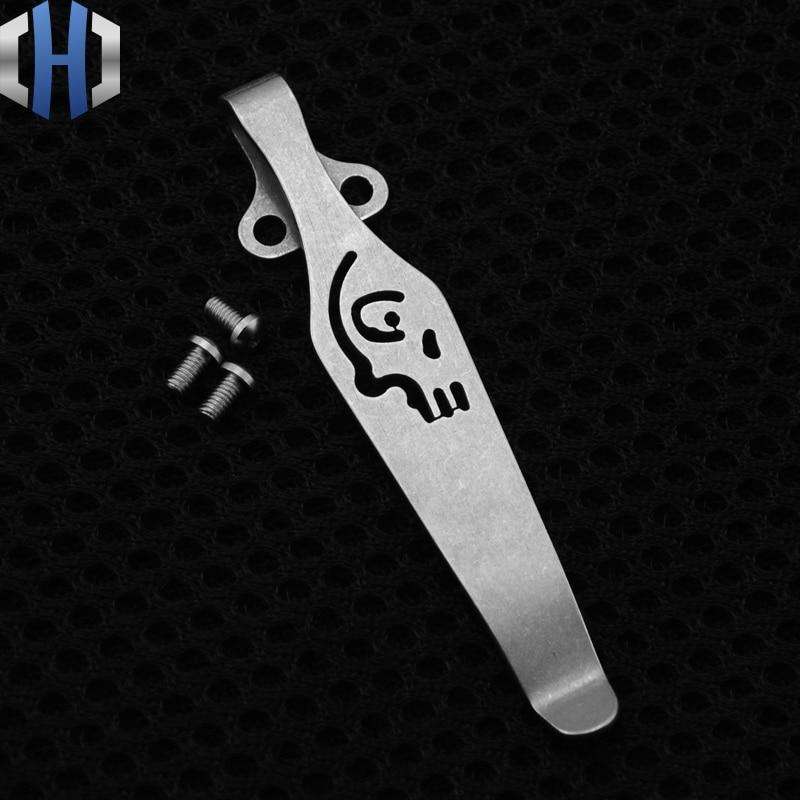 Hot Design Skull Diy Knife Material TC4 Titanium alloy Knife Clip belt flashlight K sheath Multi Tools Pocket Knife Clip Nice