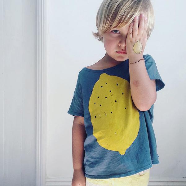 Ins hot-selling 2017 primavera e no verão lemon imprimir-manga curta t shirts tops roupas das crianças do bebê roupas de bebê menino menina