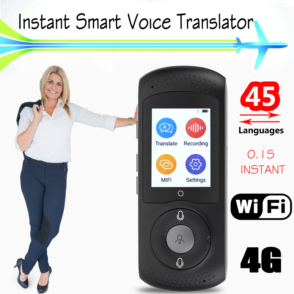 Portable Smart Voice Translator Wifi Instant Voice Translator Real Time 45 Multi-language Translation Traductor For Business portable smart voice translator two way real time wifi 43 languages instant traductor translation for learning meeting business
