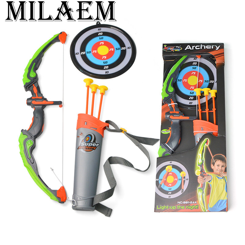 1Set Archery Recurve Bow Luminous Children Bow Arrow Set Children Safe Shooting Hunting Game Garden Park Fun Children Kids Toys children s recurve bow