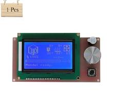 1Pcs Anet 3D printer Part controller RAMPS 1.4 LCD 12864 control panel blue screen For Anet A6 3D printer