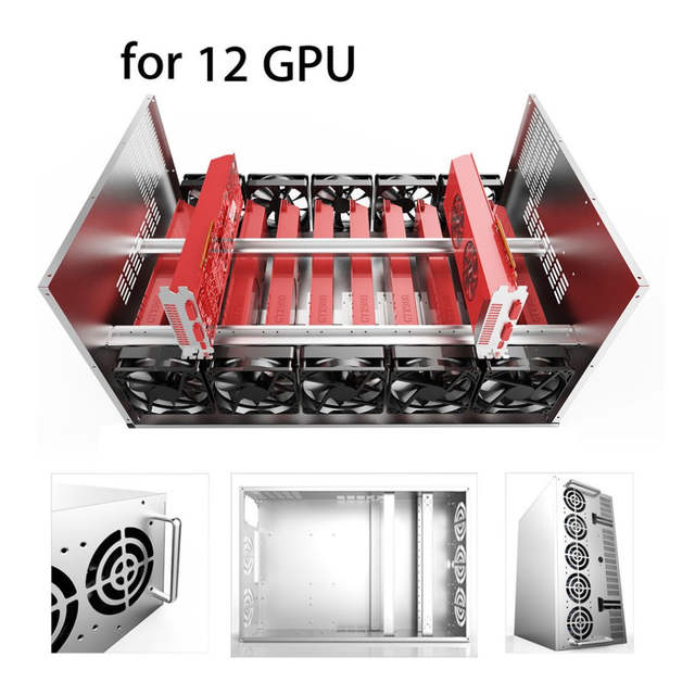 KEBETEME Crypto Coin Open Air Mining Miner Frame Rig Graphics Case 12 GPU  ETH 10 Fans for Mining Machine