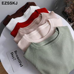 casual basic autumn winter thick Sweater Women long sleeve o-neck Soft Knit sweater Pullovers solid female  Jumper top 3