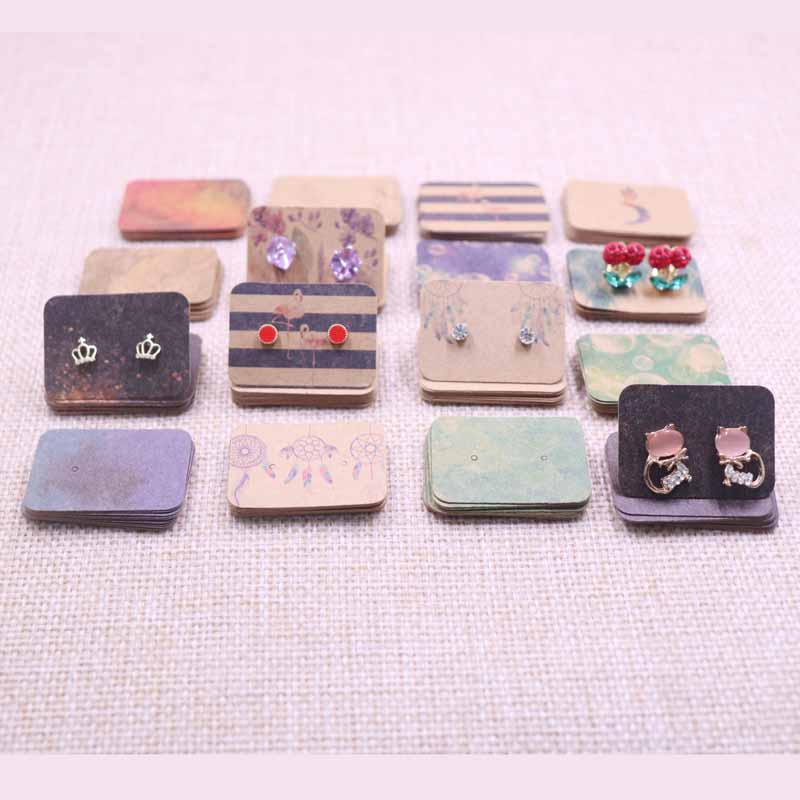 2019New Cute Earring Card Kraft Paperboard Tag Catch Dream Design Colorful Solid  Bird Marbling Style Cards Popular Hot Sell