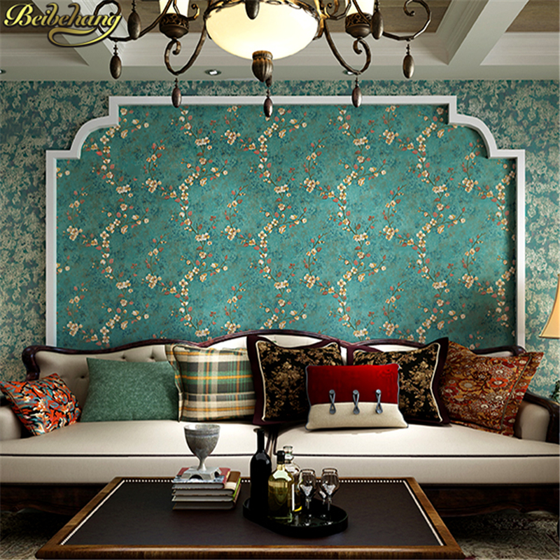 beibehang European Pastoral 3D Tree Flower Wallpaper for Wall paper Bedroom Living Room dark blue green wall papers home decor цена