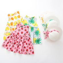 Summer Baby Girl Dress Sleeveless Princess Dress With Hat 2p