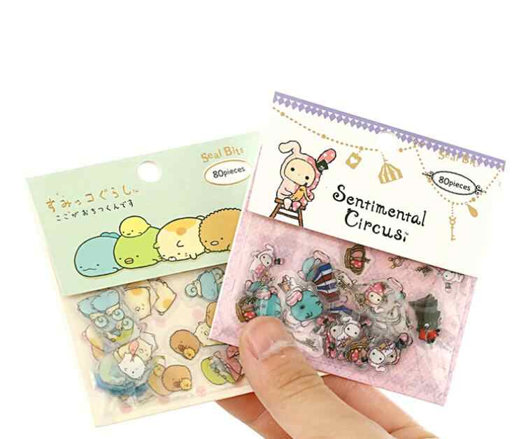 80 pcs/pack Cute Sumikko Gurashi Cat Sentimental Circus Stickers Diary Label Stickers Decorative Scrapbooking DIY Stickers