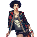 Women Jacket  Autumn Outerwear Vintage Tribal Printed ethnic jacket  blouson femme Slim Coat  ONY8090