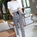 Fashion Set Women 2015 Summer Casual Letter Print Short Sleeve Top + Black White Stripe Harem Pants 2 Piece Clothing Set S8