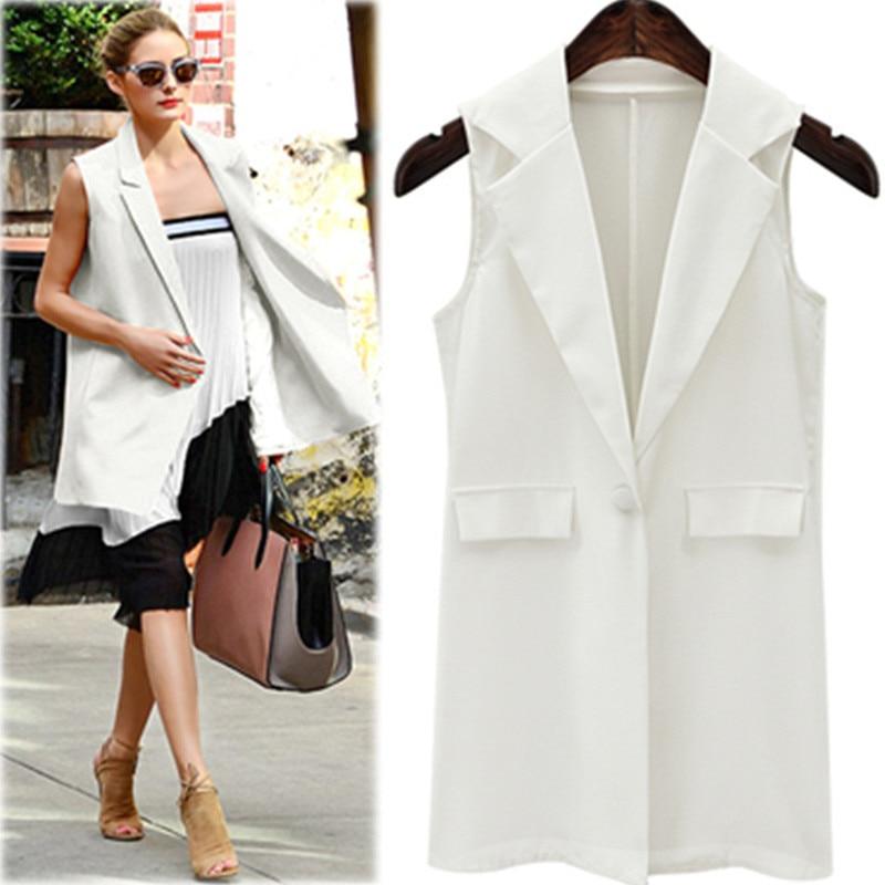 2017 Summer Women Elegant Vest Casual veste femme Fashion Sleeveless Jackets Long Vest Outwear Brand Waistcoat colete feminino