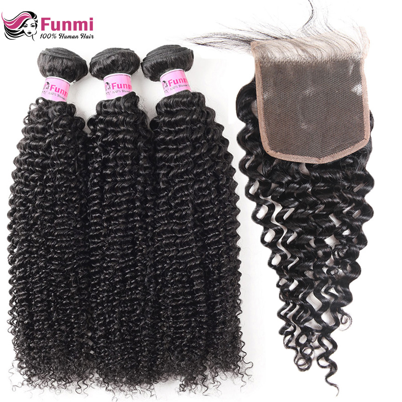 Mongolian Kinky Curly Virgin Hair Bundles with Closure Unprocessed Curly Human Hair Bundles with Closure 4PCS LOT Funmi Hair