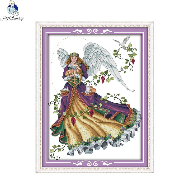 Joy Sunday Angel 5 Canvas DMC DIY Counted Chinese Cross Stitch Kits Printed Stitch Cross For Embroidery Home Decor