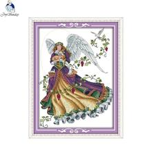 Joy Sunday Angel 5 Canvas DMC DIY Counted Chinese Cross Stitch Kits printed for Embroidery Home Decor