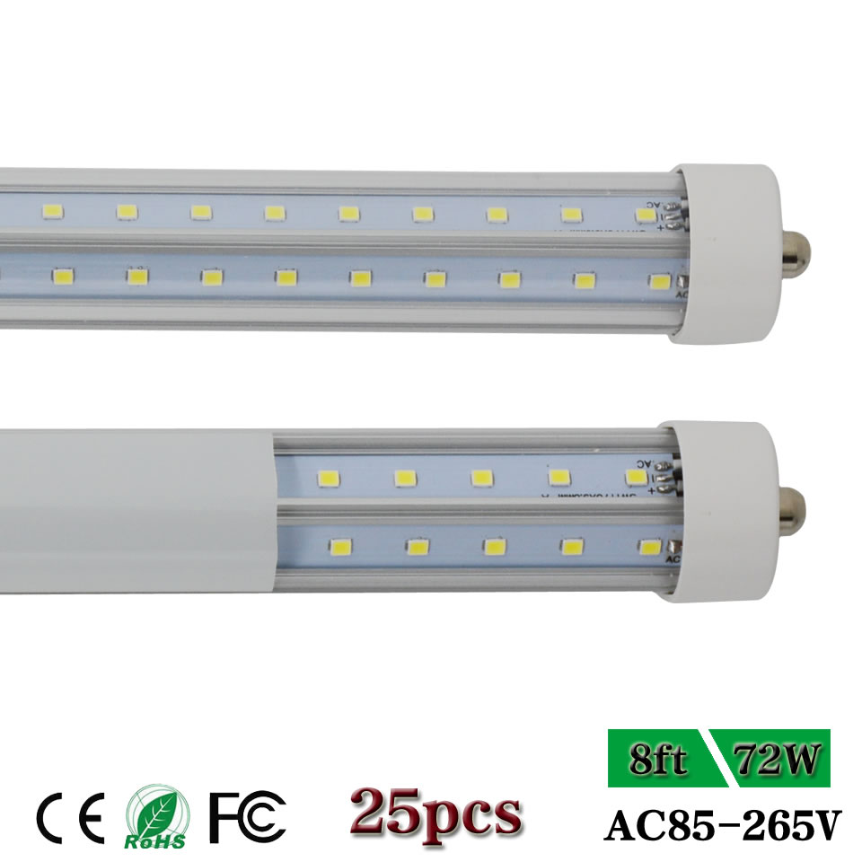 8 Ft 2 Lamp Fluorescent Strip Light White No Ssf2964wp 8ft: T8 FA8 V Shape Dual Row Single Pin 8ft LED Strip Bar