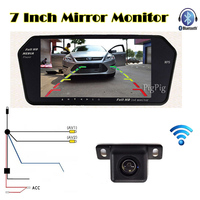 Wholesale HD 7 Inch TFT LCD Display 1024 600 Car Mirror Monitor Bluetooth MP5 With USB