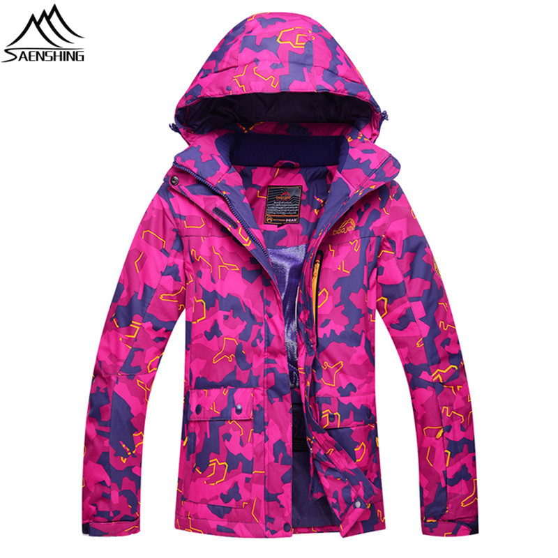Saenshing warm camouflage snow jacket women waterproof winter ski jacket breathable camping skiing snowboard coat ski clothing 4 colors winter women men camouflage ski jacket waterproof windproof warm ski coat breathable snowboard hooded jacket outwear
