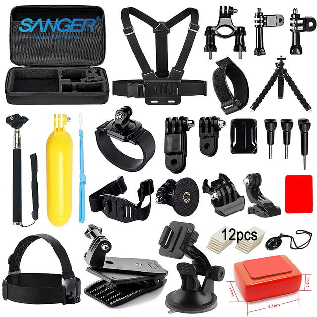Accessories Kit for GoPro Hero 5 4 3+ Accessory Bundle Set for Xiaomi Yi Action Camera SJ4000 Flotation Handle Head Chest Strap