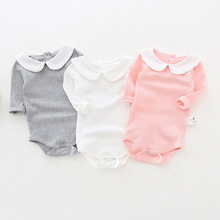 ФОТО cute newborn baby clothing long sleeve cotton solid baby rompers peter pan collar girls boys clothes jumpsuit infant costumes