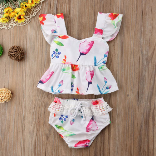 Hot Newborn Toddler Baby Girl Summer Clothes Set Floral Tops+Lace Shorts Pant Outfits Set 2PCS Baby Clothing