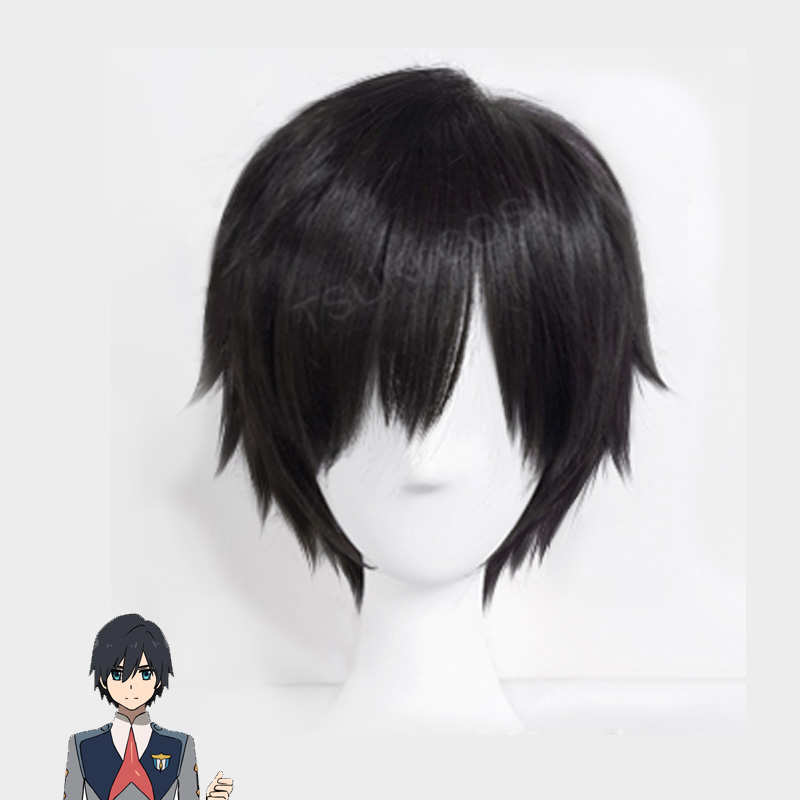 2018 Japanese Anime DARLING In The FRANXX Cosplay Hiro Cosplay Women Short Black Hair 23cm/9.06inches Synthetic Hair+wig Cap