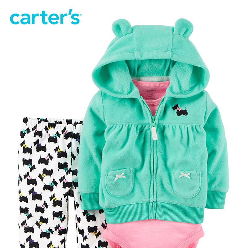 07551e2ddc218 Carter s 3 Piece baby children kids fall winter girl clothing 3D animal  earsbodysuit and pants Fleece Cardigan Set 121G767-in Clothing Sets from  Mother ...