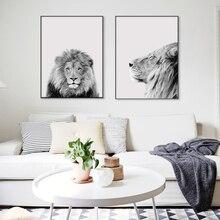 Černá bílá Cool Lion Portrét Severská dekorace Nástěnná malba Umělecké plátno a tisknout obraz z plátna zvířecího plátna pro obývací pokoj