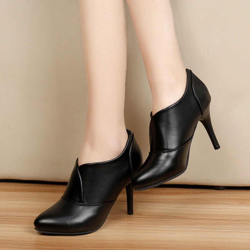 2019 nuevo primavera otoño zapatos de cuero para mujer botas botines casuales zapatos de mujer tacones altos nuevas botas de señora