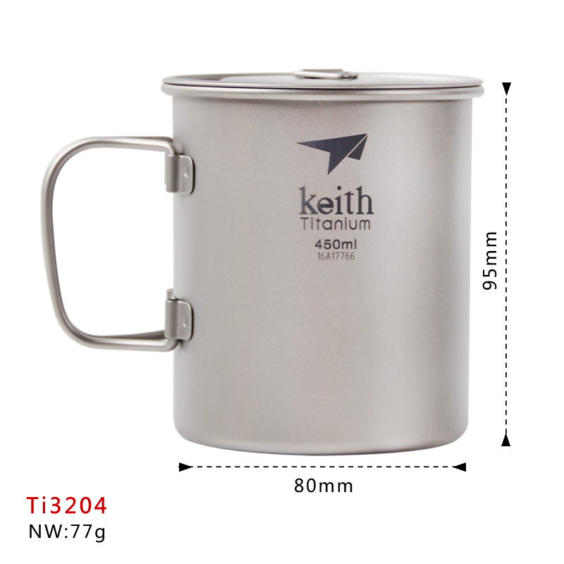Keith Ti3204 450ml Titanium Cup Outdoor Tableware Camping Water Travelling Fixed Handle Cup keith pure titanium double wall water mugs with folding handles drinkware outdoor camping cups ultralight travel mug 450ml 600ml