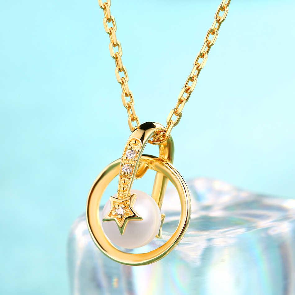 ALLNOEL 100% Reale 925 Sterling Silver Perla D'acqua Dolce Pendenti con gemme e perle star Collana girocollo Gioielleria Raffinata In Oro Per Le Donne Regalo di Nozze