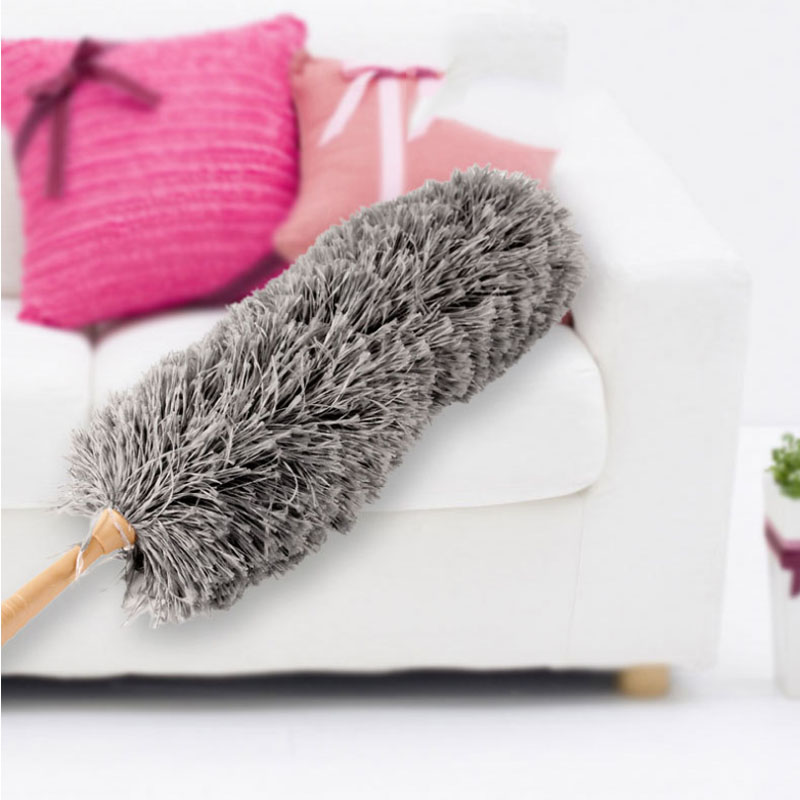 Dust duster curved electrostatic suction ultrafine fiber table top natural feather wooden handle anti-static cleaning tool