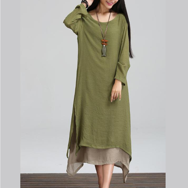 a8d9c99546c 2018 Women Linen Vintage Dress Split Irregular Hem Casual Loose Boho Long  Maxi Dresses Plus Size