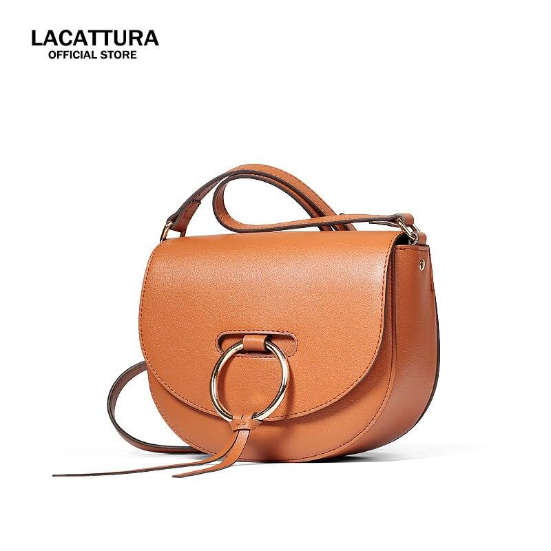 A1380 LACATTURA 2017 Simple Wild Genuine Leather Small Retro Shoulder Messenger Saddle Mini Phone Bag For Women Bolsa Feminina genuine leather retro saddle bag 100