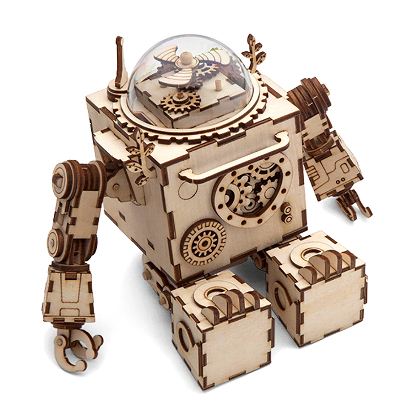 Robotime 5 Kinds 3D Wood Puzzle DIY Steampunk Music Box Assembled Wooden Model Toys for Boys Girls Children Educational Puzzles