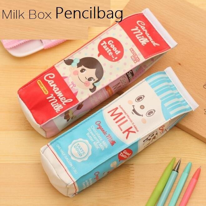 1pcs / lot Milk Box vodootporna PU olovka Studentski poklon Multifunkcionalna torba za organizator Školska kancelarijska oprema Escolar Papelaria