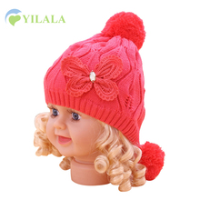 Baby Winter Hat For Girls Cotton Solid Baby Beanie With Pompom Warm Knit Pom Hat Soft Butterfly Princess Hat Baby Girls Clothing