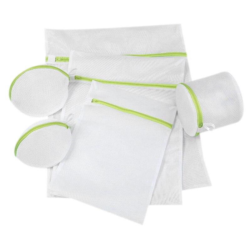5PCS Mesh Laundry Bags For Washing Machine Travel Clothes Storage Net Zip Bag For Wash Bra Stocking And Underwear Washing Bag
