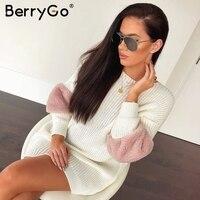 BerryGo Loose shift knitted dress women O neck pull femme sweater dress spliced Long sleeve casual streetwear winter dress 2018