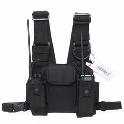 ABBREE модуль для установки магнитолы груди передняя сумка чехол сумка для Baofeng UV-5R UV-82 UV-9R BF-888S TYT гарнитура Motorola
