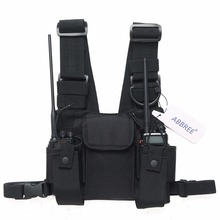 ABBREE Radio Harness chest Front Pack Pouch Holster Carry bag for Baofeng UV 5R UV 82 UV 9R BF 888S TYT Motorola Walkie Talkie