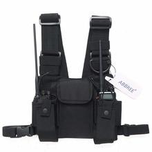ABBREE radyo kablo demeti göğüs ön paketi kılıfı kılıf taşıma çantası Baofeng UV 5R UV 82 UV 9R BF 888S TYT Motorola Walkie Talkie
